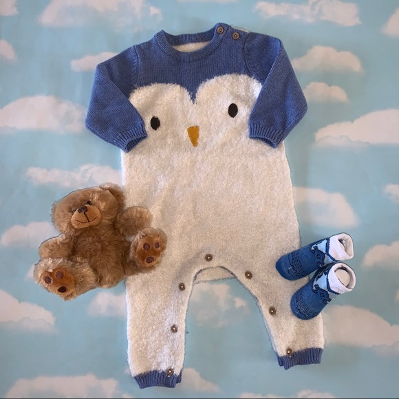 Marks & Spencer Fuzzy Penguin Button Coverall 3-6M